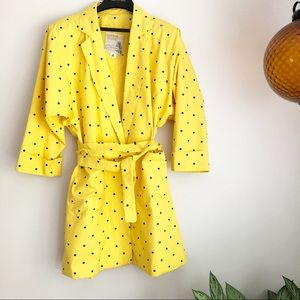 Vintage London Towne polka dot trench coat yellow
